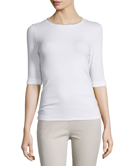 Peserico Half-Sleeve Jersey Tee W/ Rose Gold Trim