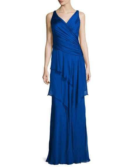 Carmen Marc Valvo Sleeveless Ruffle-Front Column Gown