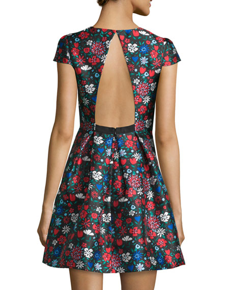 Cap-Sleeve Floral-Print Mini Dress, Flame/Multi