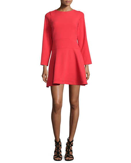 Shoshanna Bracelet-Sleeve Fit-&-Flare Dress, Flame