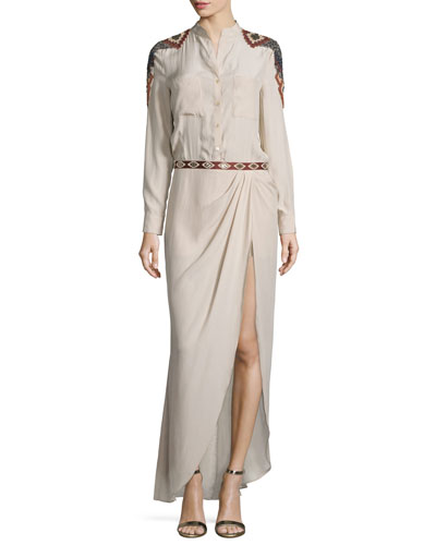 Long-Sleeve Embroidered Silk Shirtdress, Buff