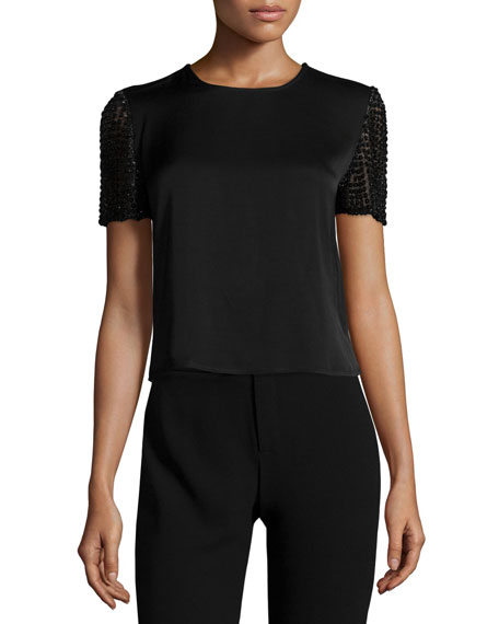 Haute Hippie Embellished-Sleeve Satin Crop Top, Black