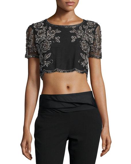 Haute Hippie Embroidered Silk Crop Top, Black