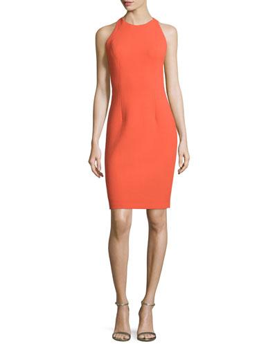 Sleeveless Sheath Dress with Back Cutouts, Orange