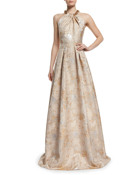 Beaded Halter Floral Jacquard Ball Gown