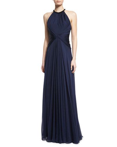 Beaded-Neck Sleeveless Flowy Silk Gown