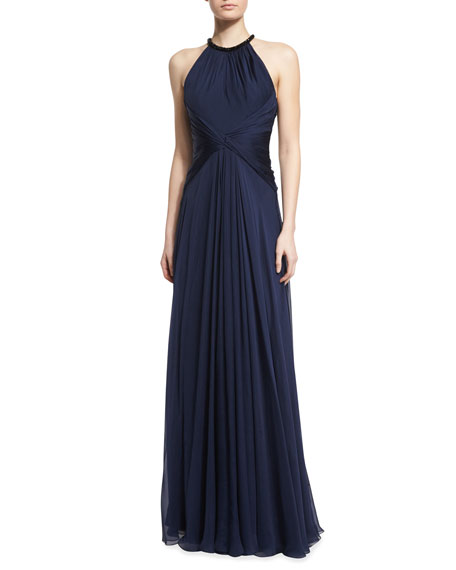Carmen Marc Valvo Beaded-Neck Sleeveless Flowy Silk Gown