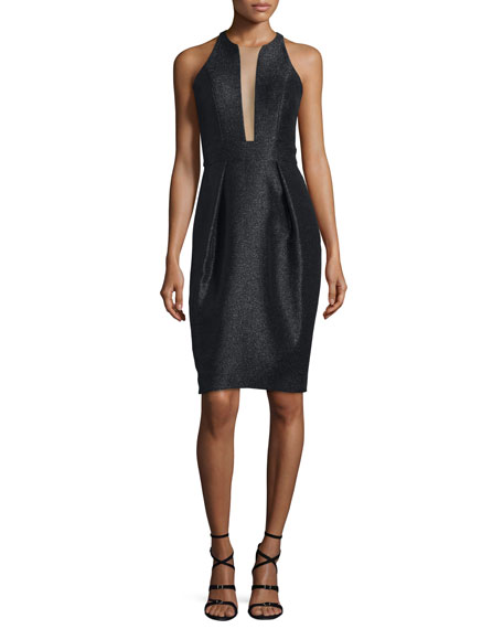 Carmen Marc Valvo Sleeveless Shimmery Deep-Illusion Cocktail