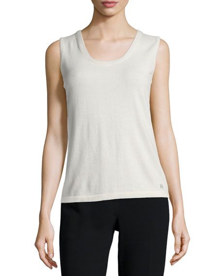 Escada Sleeveless Cashmere Top, Off White