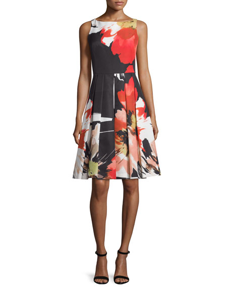 Carmen Marc Valvo Sleeveless Floral-Print Fit & Flare