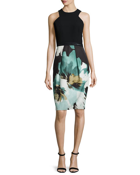 Carmen Marc ValvoSleeveless Printed Cocktail Dress W/ Lace