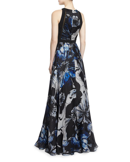 Sleeveless Jewel-Neck Floral Ball Gown