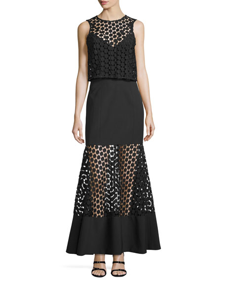 Nicholas Twofer Geometric-Lace Layered Gown, Black
