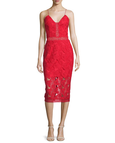 Sleeveless Floral-Lace Bra Dress, Red