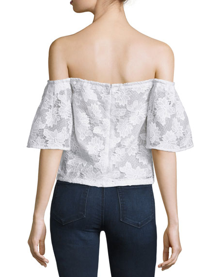 Off-The-Shoulder Floral-Lace Top, White