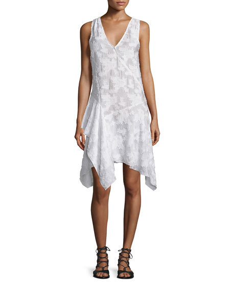 Derek Lam 10 Crosby Sleeveless Embroidered Asymmetric Dress,