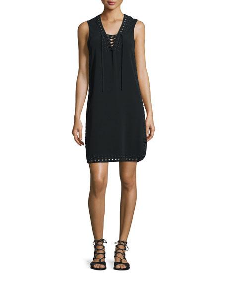 Derek Lam 10 Crosby Sleeveless Lace-Up Tank Dress,