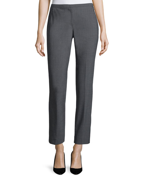 Elie Tahari Jillian Slim-Leg Ankle Pants, Gray Melange