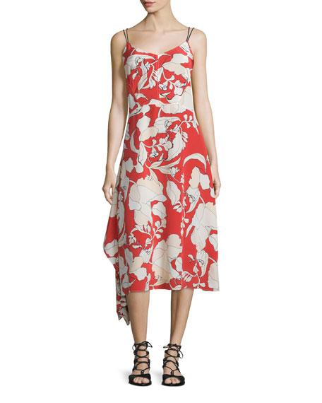 Sleeveless Floral Silk Midi Dress, Flamenco