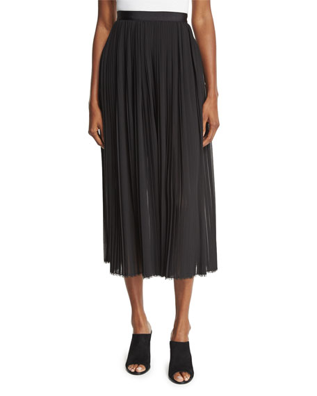 High-Waist Plisse Culottes, Black