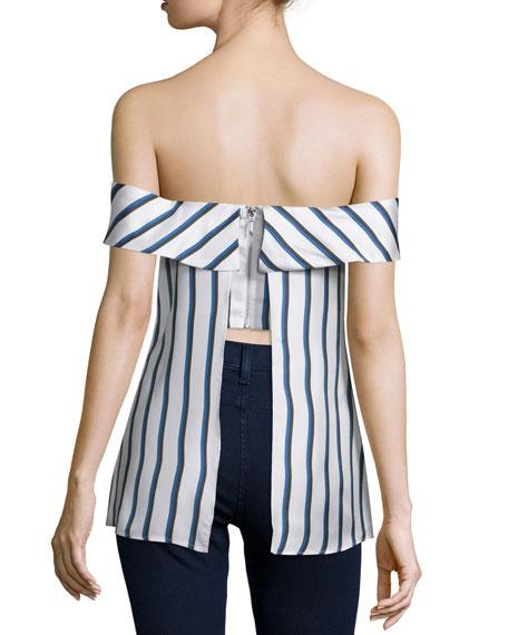 Off-The-Shoulder Striped Silk Top, Dual Stripe