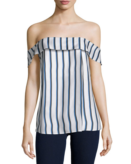 NICHOLAS Off-The-Shoulder Striped Silk Top, Dual Stripe