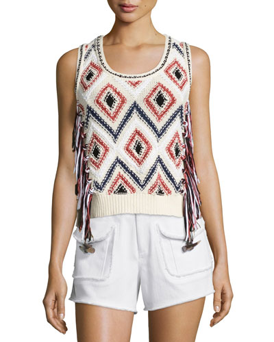 Tassel-Front Sleeveless Knit Shell, Cream