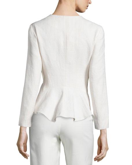 Stretch Fringe-Trim Peplum Blazer, Soft White