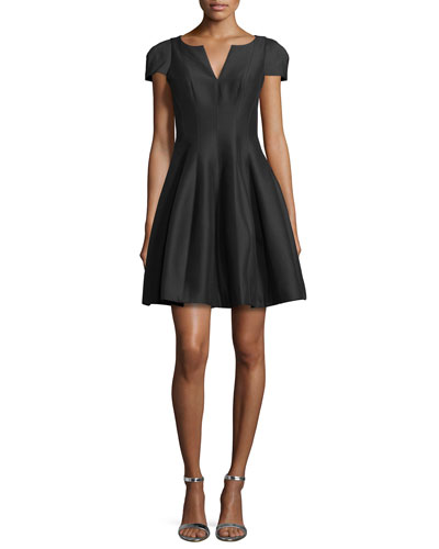 Tulip-Skirt Split-Neck Dress, Black