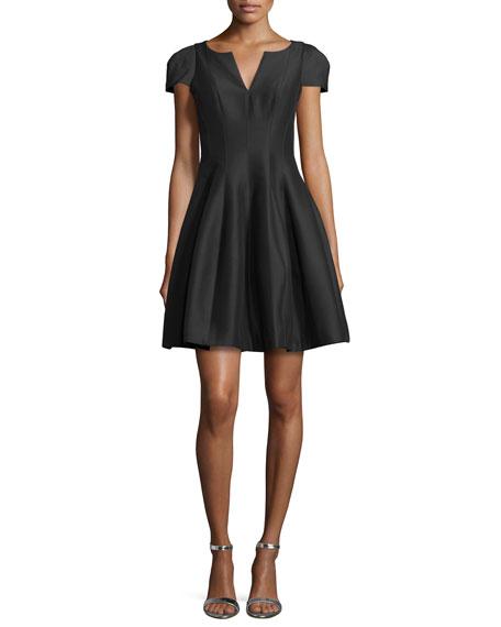 Halston Heritage Tulip-Skirt Split-Neck Dress, Black