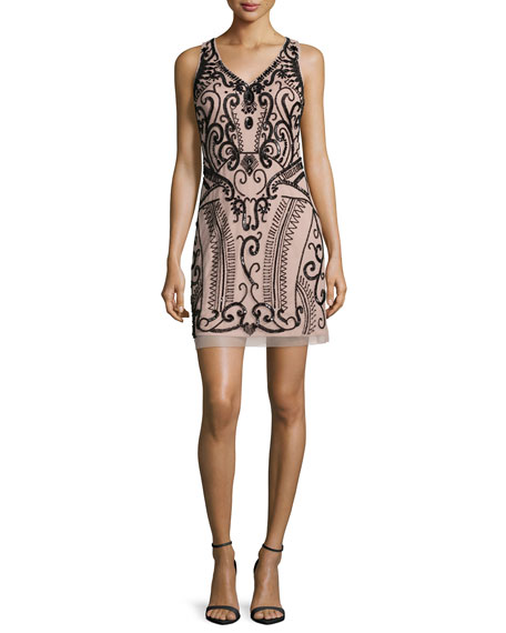 Aidan Mattox Sleeveless Embellished Cocktail Dress, Nude