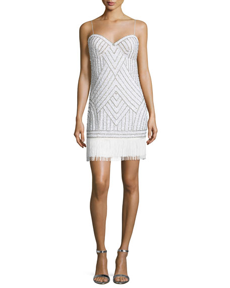 Sleeveless Embellished Cocktail Dress, Ivory