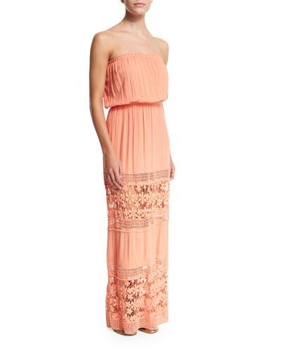 Charlotte Strapless Maxi Dress, Watermelon