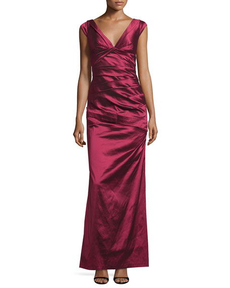 Aidan Mattox Cap-Sleeve V-Neck Pleated Gown, Ruby