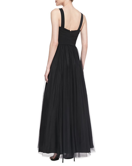 Sleeveless Sweetheart Tulle Ball Gown, Black