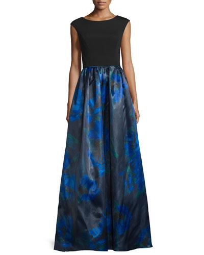 Cap-Sleeve Printed-Skirt Gown, Neptune/Multi