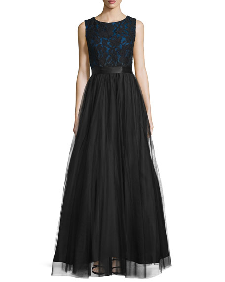 Aidan Mattox Sleeveless Lace-Bodice Ball Gown, Black/Indigo