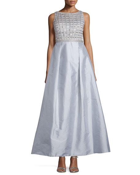 Aidan Mattox Sleeveless Embellished-Bodice Gown, Silver
