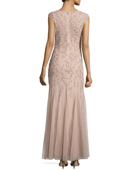 Cap-Sleeve Embellished Gown, Light Mink