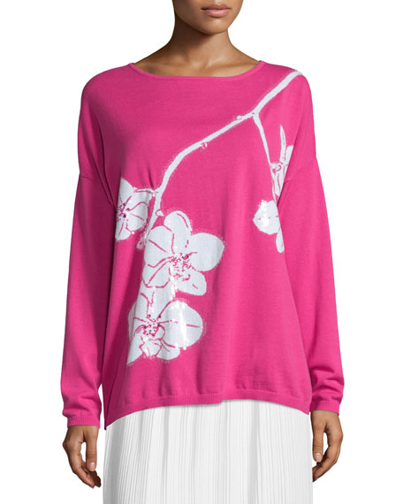 Joan Vass Sequined Orchid Intarsia Sweater