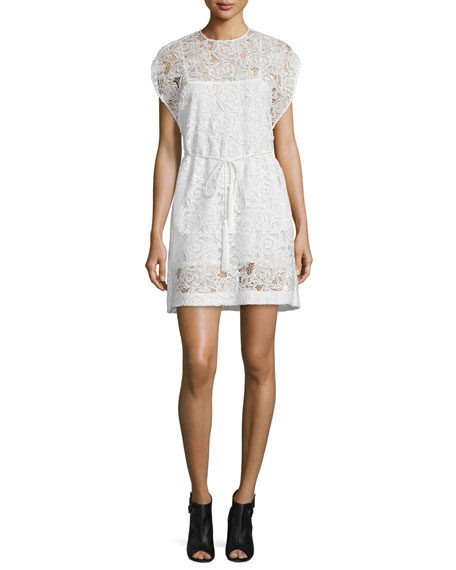 McQ Alexander McQueenBelted Lace Cape Dress, Ivory