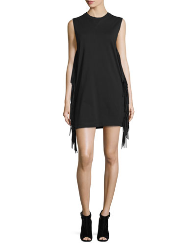 Sleeveless Fringe Shift Dress, Black