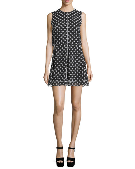 McQ Alexander McQueen Sleeveless Polka-Dot Popover Dress,