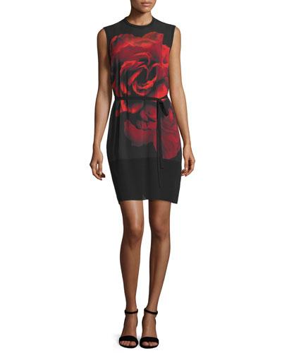 Sleeveless Rose Tunic Dress, Black