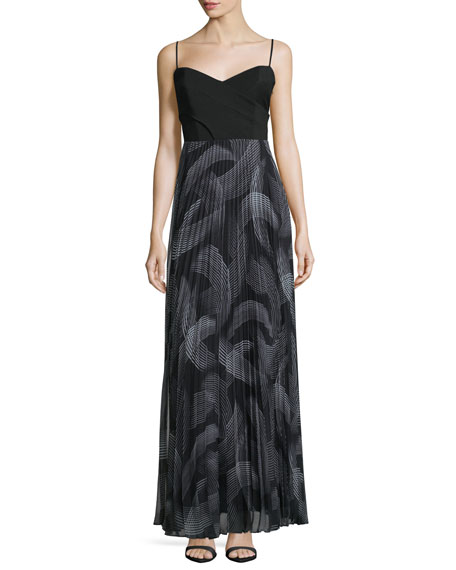 Laundry by Shelli Segal Sweetheart-Neck Pleated-Skirt Maxi Dress,