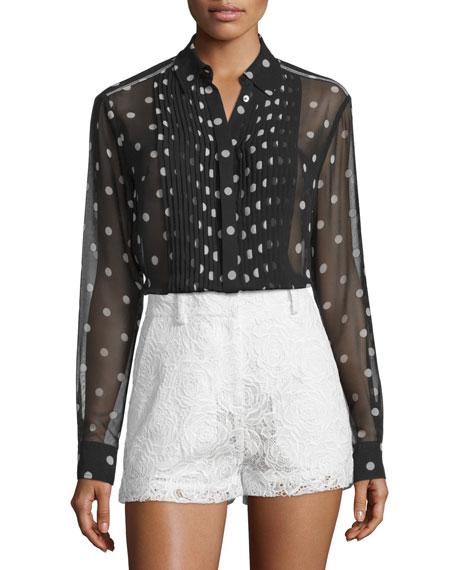 McQ Alexander McQueen Sheer Pleated Polka-Dot Tunic, Black/White
