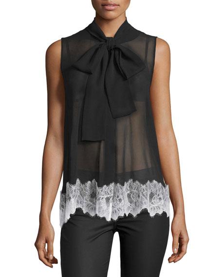 McQ Alexander McQueen Sleeveless Silk Lace-Trim Blouse, Black