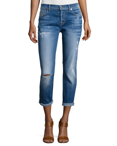 Josefina Distressed Cropped Jeans, Bright Bluebell