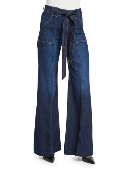 7 For All Mankind Mid-Rise Belted Palazzo Pants,