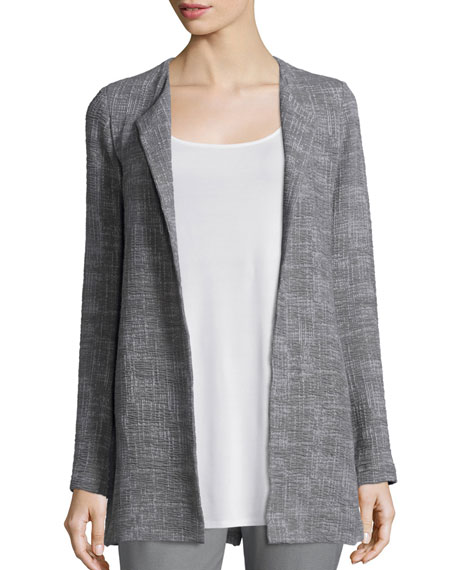 Eileen Fisher Crosshatch Tencel® Long Jacket, Smoke, Plus